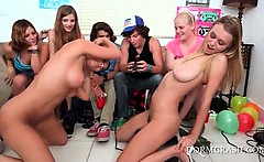 Blindfolded coeds licking pornstar pussies in gangbang