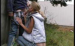 blonde teen flashing outdoor