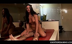 Amsterdam tramp proving cock riding skills to horny tourist