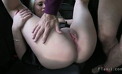 Huge tits blonde giving tits job and fucking in fake taxi