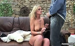 Hot blonde gets naked and sucks on a hard cock