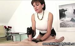 Stocking milf Lady Sonia handjob cumshot