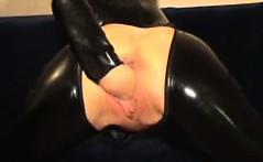 Bizarre latex mature amateur wife extreme self fisting