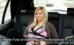 Hot blonde fucked in public parking in fake taxi