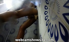 Amazing milf uses the wall dildo on the shower