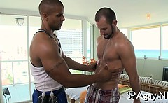 Steamy sexy gay massage