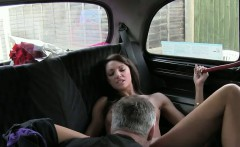 British amateur fucking in threesome in fake taxi