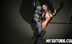 Hot 3D cartoon redhead babe gets fucked by a zombie