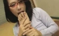 Horny Busty Japanese MILF Wife In Red Glasses