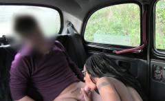 Ebony nurse fucks in fake taxi