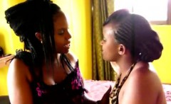 Gorgeous African babe seduced by chunky black lezzie
