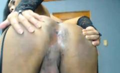 Hot tranny in lingerie masturbate her big hard cock. She