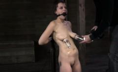 Ballgagged BDSM fetish sub tits pumped