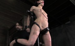 Suspended bdsm bondage sub whipped hard
