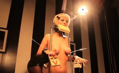 Suspended slave breasts bound
