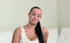 Hot lesbian brunette gets strapon fucked on casting