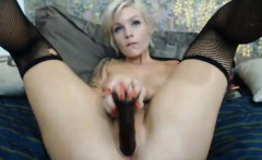 Hot Blonde Sucks a Fucks with a Massive Dildo