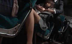 Asian girl riding the bus and getting her pussy masturbated