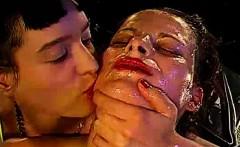european bukkake slut swallows cum in group sex