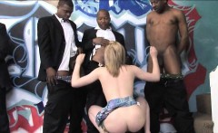 Sexy blonde slut deepthroats big black cocks and facialized