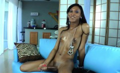 Ebony trans with smallboobs cumming