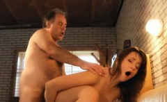 Sexy young brunette devouring an old dick in the solarium