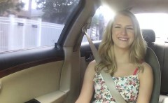 Blonde bitch Dixie is fucked in a car