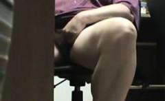 Mum caught masturbating under the desk