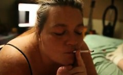 Fat Mature Smoker Sucking On A Cock POV