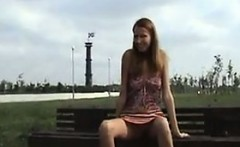 Skinny Girl Flashing In Public At The Park