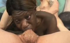 Black Girl Very Roughly Deep Throating White Dick