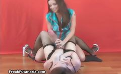 Teen brunette with a huge cock fucking