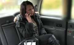 British ebony rimjob and fuck in fake taxi