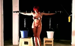 Big boobed ginger must stand a painful breast torture