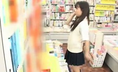 Schoolgirl fucked in a bookstore