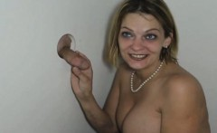 Pretty Blonde With Great Tits Sucking At Glory Hole
