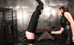 Tied up male sex slave gets clipped and spanked