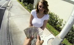 Playgirl bares her sexy tits after getting money offerings