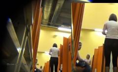 few women caught on a hidden camera undressing in a locker