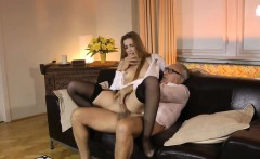 Young euro nurse in stockings fucks mature couple