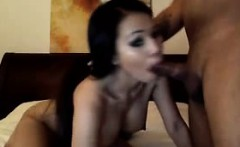 Asian milf sucking a cock and fucks on webcam