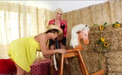 Slutty cowgirls Julie Night and Jayda Diamonde butt ripped