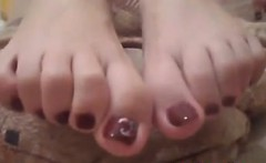 Shy Girl Showing Off Her Cute Toes Close Up