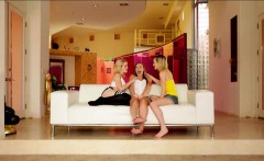 Three tight teens intimate lesbian action on the couch