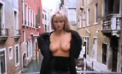 Blonde Beauty Flashing Her Tits In Italy