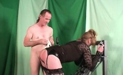 Blonde tranny used by horny guy with big cock