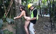Naughty brunette teen Jaye Austin banged in the woods
