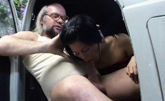 Luscious brunette offers old worker pussy instead of money