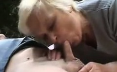 Old Couple Enjoy A Threesome In Nature