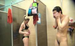 beautiful girls spied in a public shower